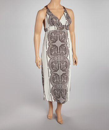 Brown Lace Crocheted Maxi Dress - Plus