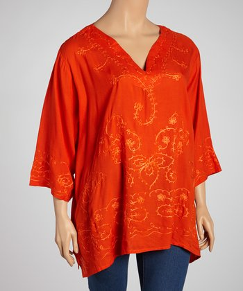 Orange Embroidered Top - Plus