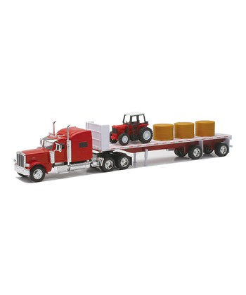 Peterbilt Flatbed Truck & Hay Bail Set