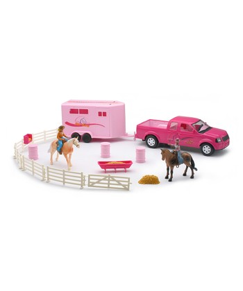 Pink Pickup Truck & Horse Trailer Set