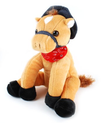 Light Brown Hat Horse Plush Toy