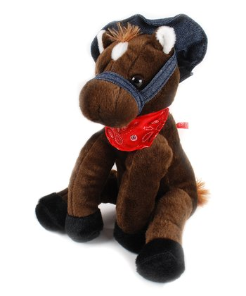 Dark Brown Hat Horse Plush Toy