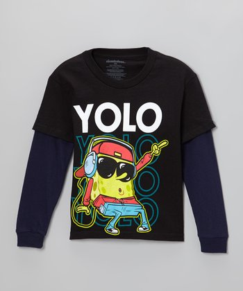 Navy 'Yolo' SpongeBob Layered Tee - Kids