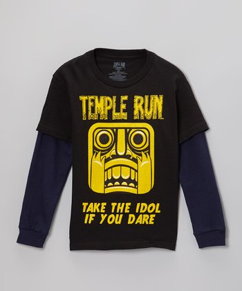 Black 'Temple Run' Layered Tee - Kids