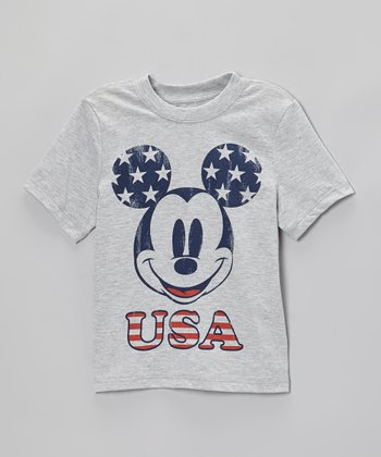 Gray 'USA' Mickey Tee - Infant, Toddler & Kids
