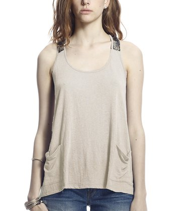 Oatmeal Pocket Lace Phyllis Racerback Top
