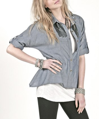 Dusty Lucca Sequin Chambray Button-Up