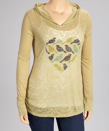 Nude Bird Heart Burnout Hoodie - Plus
