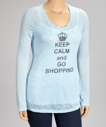 Blue 'Keep Calm and Go Shopping' Burnout Top - Plus