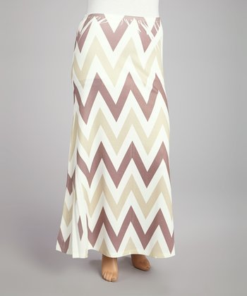 Beige & Brown Zigzag Sublimation Maxi Skirt - Plus