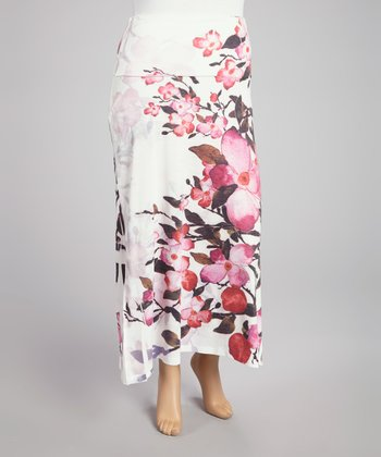 Fuchsia Cherry Blossom Sublimation Maxi Skirt - Plus