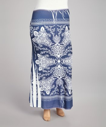 Navy Paisley Sublimation Maxi Skirt - Plus