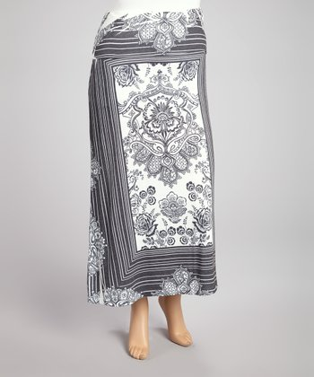 Charcoal & White Paisley Stripe Sublimation Maxi Skirt - Plus
