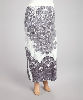 Charcoal & White Paisley Sublimation Maxi Skirt - Plus