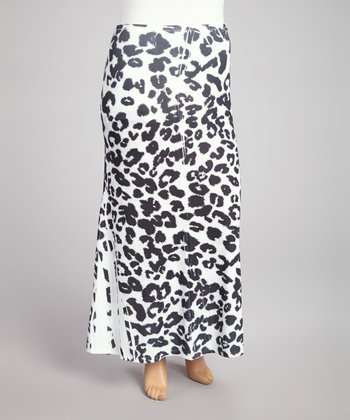Charcoal & White Leopard Sublimation Maxi Skirt - Plus