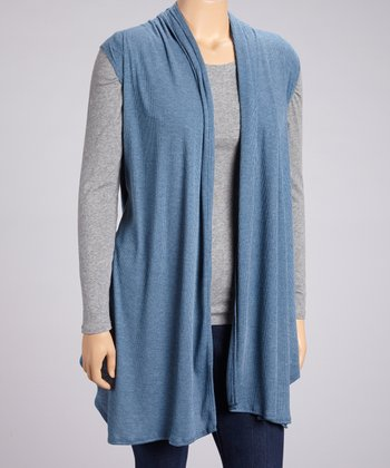 Blue Ribbed Open Vest - Plus