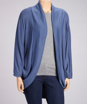 Blue Ribbed Open Cardigan - Plus