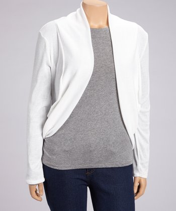 White Ribbed Open Cardigan - Plus