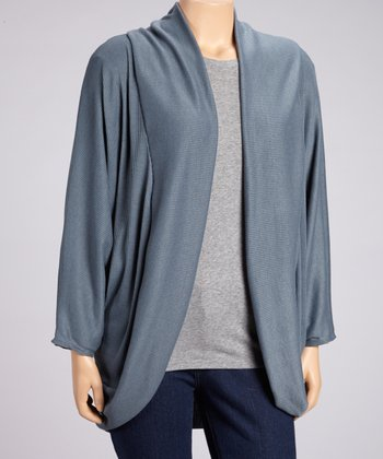 Light Teal Ribbed Long Open Cardigan - Plus