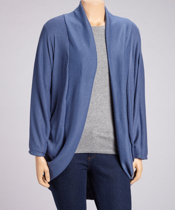 Blue Ribbed Long Open Cardigan - Plus