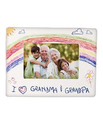 GANZ White 'I Love Grandma & Grandpa' Crayon Drawing Frame