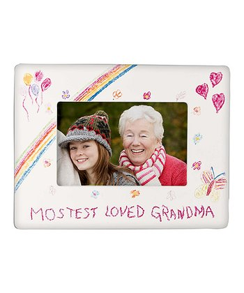 GANZ White 'Mostest Loved Grandma' Crayon Drawing Frame