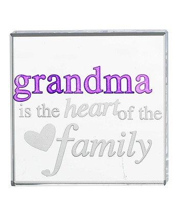 GANZ Clear & Purple 'Grandma Is the Heart of the Family' Keepsake