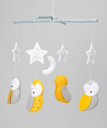 Yellow & Gray Sleeping Owl Mobile