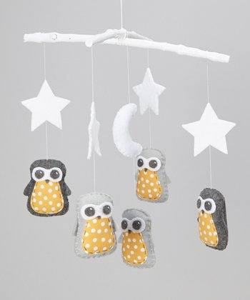 Gray & Yellow Polka Dot Star Owl Mobile