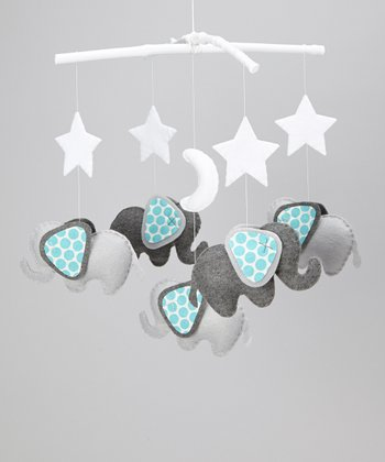 Gray & Blue Polka Dot Star Elephant Mobile