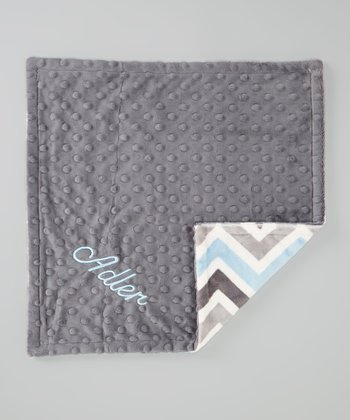 Blue & Charcoal Personalized Minky Security Blanket