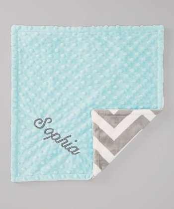Gray Zigzag & Blue Personalized Minky Security Blanket