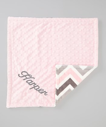 Gray Zigzag & Pink Personalized Minky Security Blanket