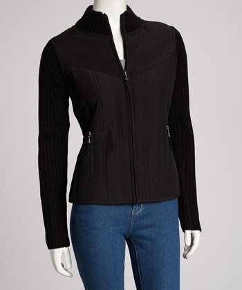 Black Quilted Chevron Jacket