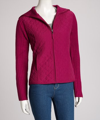 Magenta Quilted Hooded Jacket