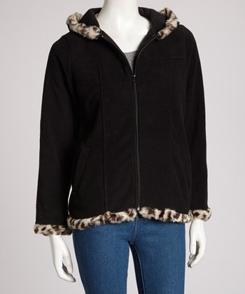 Black Leopard Hooded Jacket