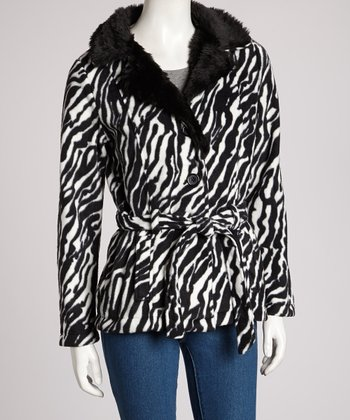 Black Zebra Belted Jacket