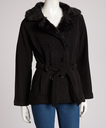 Black Faux Fur Belted Jacket