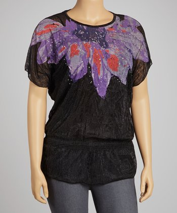 Black & Purple Floral Layered Top