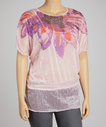 Pink & Purple Floral Layered Top