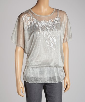 Gray Abstract Cape-Sleeve Top