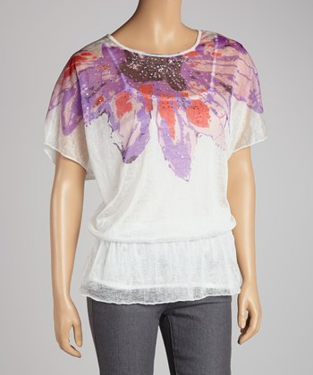 White Abstract Cape-Sleeve Top