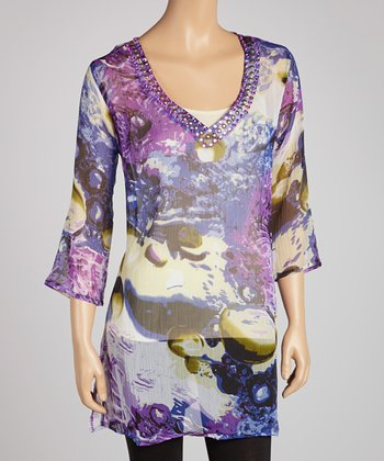 Purple Floral Embellished Tunic