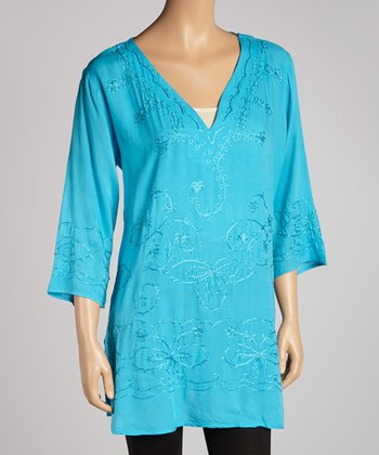 Turquoise Embroidered Floral Tunic