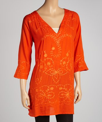 Orange Embroidered Floral Tunic