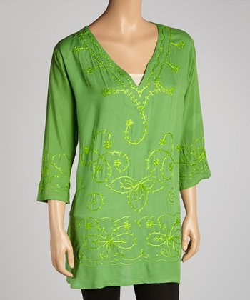 Lime Embroidered Floral Tunic