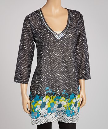 Black & Blue Floral Dot Embellished Tunic