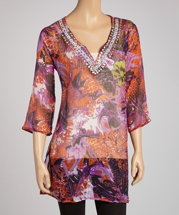 Purple Jungle Embellished Tunic
