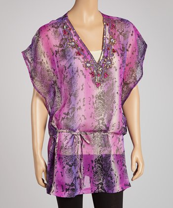Purple Snake Embellished Tunic
