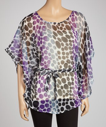 Purple Dot Embellished Tunic